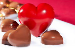 Red heart and candy Royalty Free Stock Image