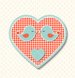 Red heart with canvas texture and two cute birds, illustration Stock Photo
