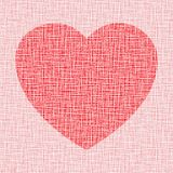 Red Heart on canvas texture Stock Photos