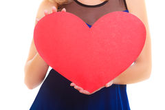 Red heart card. Love symbol. Woman hold Valentine day symbol. Royalty Free Stock Image