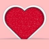 Red heart card with ornate on pink background Royalty Free Stock Photography