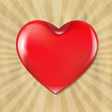 Red Heart With Cardboard Structure With Sunburst Royalty Free Stock Photos