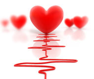 Red heart and cardiogram Stock Photos