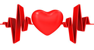 Red heart and cardiogram Royalty Free Stock Images