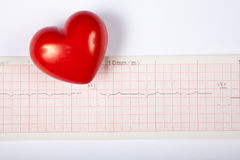 Red heart and cardiogram Stock Images