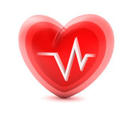 Red heart and cardiogram Stock Photography