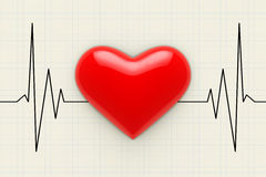 Red Heart on a Cardiogram Background. 3d Rendering Stock Images