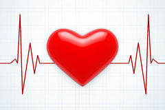 Red Heart on a Cardiogram Background. 3d Rendering Stock Image