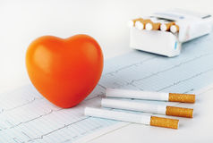 Red heart on the cardiogram and cigarettes. Stock Photography
