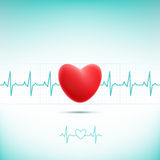 Red heart cardiogram Royalty Free Stock Photos