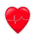 Red heart with cardiogram isolated Stock Images