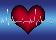 Red heart and cardiogram line Stock Images