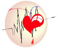Red heart cardiogram line Royalty Free Stock Images