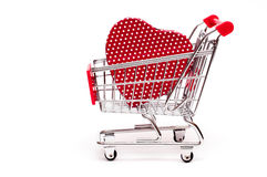 Red heart in a cart Stock Photos