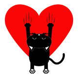 Red heart. Cartoon black cat. Back view. Red bloody claws animal scratch scrape track. Cute funny character with face. White backg Royalty Free Stock Image