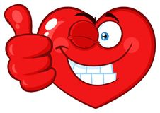 Red Heart Cartoon Emoji Face Character Winking and Giving A Thumb Up Stock Photos