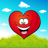 Red heart cartoon on green grass Royalty Free Stock Images