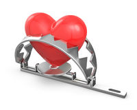Red heart caught in a trap Stock Photography