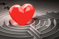 Red heart at the center of a maze, finding Love concept. 3D rend. Red heart at the center of a maze, finding Love concept. 3D Stock Photography