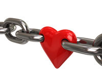 Red heart in chain Stock Images