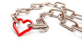Red heart chain. 3d Illustrations Royalty Free Stock Photo