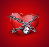 Red heart in chains Royalty Free Stock Image