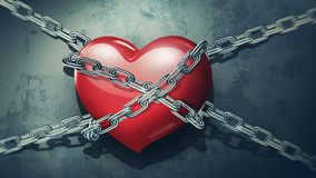 Red heart in chains. Close-up on a background of dirty old wall vector illustration