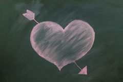 Red heart in chalk Royalty Free Stock Image