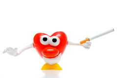 Red heart character with cigarette Stock Images