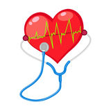 Red heart check  shape with electrocardiogram Stock Photos
