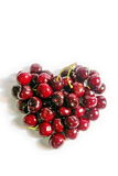 Red Heart Cherry. In White Background stock photo