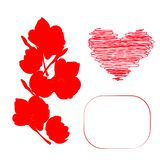 Red heart and contour of flowers. Red heart children`s drawing and contour of flowers and frame postcard for writing royalty free illustration