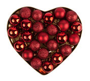 Red heart of the christmas ball. Isolated on white Royalty Free Stock Images