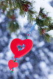 Red heart christmas pine ornament winter forest. Single red heart shaped Christmas or Valentines decoration hanging from snow covered branches of pine tree in Royalty Free Stock Photos