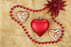Red heart on christmas tablecloth Royalty Free Stock Photography