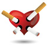 Red heart and cigarettes Stock Photos