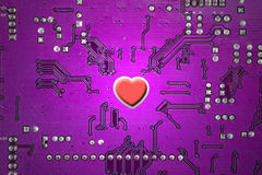 Red heart and circuit board Royalty Free Stock Images