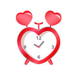 Red heart clock. On white background of valentine Royalty Free Stock Photo
