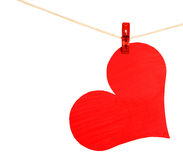 Red Heart with Clothespin hanging on clothesline isolated. On white background. Valentines Day Royalty Free Stock Photos