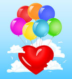 Red heart in the clouds Royalty Free Stock Photography