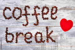 Red heart and coffee beans. Stock Image