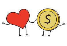 Red heart and coin. Vector illustration Stock Photography