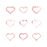 Red heart collection icon, love symbol. Design elements for Valentine`s day Royalty Free Stock Image