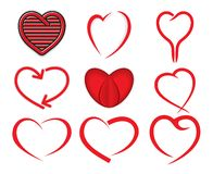 Red heart collection Royalty Free Stock Image