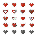 Red Heart Color Icons Set Of Vector Illustration Style Flat Icon Stock Photos
