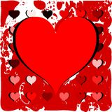 Red heart on colorful texture in red tones Royalty Free Stock Photos