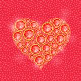 Red Heart Composed of Diamond Gem Stones Stock Image