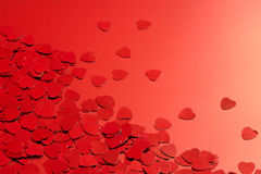 Red heart confetti Stock Photography