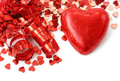 Red heart and confetti Royalty Free Stock Images