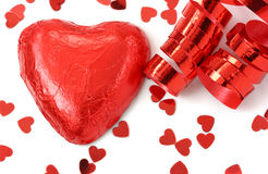 Red heart and confetti Royalty Free Stock Photography